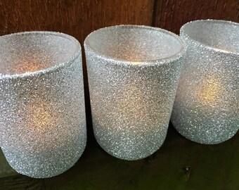Silver Glitter Votive Holders