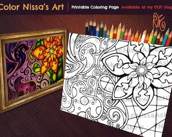 Doodle Art Coloring Page - PDF Digital Download - Color Nissa's Art - Nissa Askew