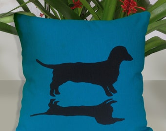 Gorgeous Dachshund and Shadow  Silhouette Blue  Cushion Cover Free Shipping Australia Wide