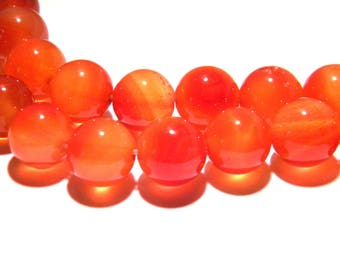 5 carnelian 12mm round - orange - - PG218 gem stone beads