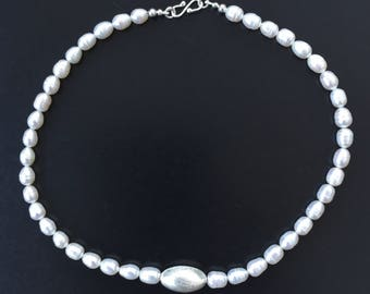Freshwater pearl and sterling silver bead necklace