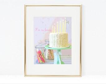 I'm So Fancy Cake Digital Art - Instant Download, Nursery Decor, Ruffle Cake, Birthday Cake, Cake Printable, Typography, Bakery Art, Candles