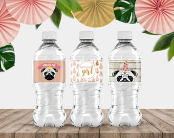 """Printable """"Party Pug"""" Waterbottle Covers"""