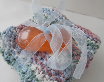 Hand-Knitted Washcloths / Dishcloths  - Dusty Rose, Blue, Sage, Ivory - Set of 3 PLUS Spa Terre Glycerin Soap Bar - Makes a Great Gift, Too!