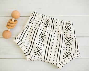 Ready To Ship 9-12 Months \\ Organic Baby Shorts \\ Boho Baby Shorties \\ Baby Shorties \\ Mudcloth Shorts \\ Modern Baby Shorties