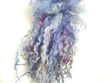 Lavender Dreams - long Teeswater locks for dolls hair, spinning and felt crafting.  Wool curls for waldorf doll hair, blythe, bjd reroot.