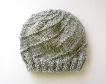 Knit Spiral Beanie, Alpaca Wool Knitted Hat, Soft Winter Hat for Her, Unisex Beanie, Unique Hats, Customized Knit Hat, Spring Cap, For Him