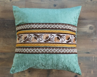 Boho pillow in opal green with vintage ribbons, pillow cover, square pillow, boho home decor, 20x20 inch, decorative pillow, ornamental