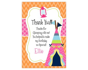 Glamping Thank You Card - Orange Chevron, Pink Dots, Girls Glam Camp Camping Personalized Birthday Party Thank You - Digital Printable File