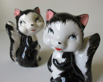 Vintage Skunk 1960s Black and White Salt and Pepper Shakers