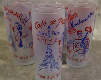 Set of 8 Eight Frosted Hollywood Glamour Paris Sunset Blvd Tom Collins Glasses