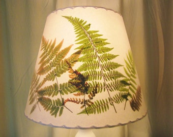 Pressed Fern Lampshade, Botanical Lampshade, Washer Top Shade, Custom Lampshade, Green and Gold Ferns Lamp Shade, Cottage Style Lighting