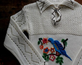 sale -- Vintage 1970s Crewel Knit Embroidered Bird Floral Sweater