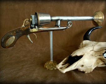 Steampunk gun - Inspiration blunderbuss - handmade metal and wood - great for collection, cosplay, LARP.