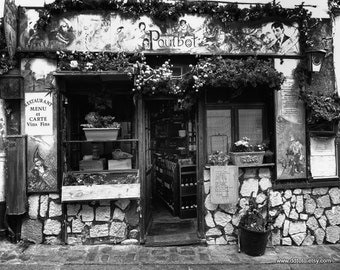 Paris Photography in Black and White, Parisian Cafe, Kitchen Wall Art