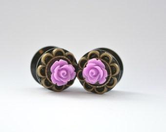 Purple Steampunk Plugs 14mm