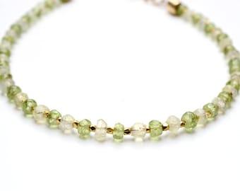 Peridot and Prehnite Bracelet, August Birthstone, Peridot Jewellery, Gemstone Jewelry, 14K gold filled, Birthstone Jewellery, Green Peridot