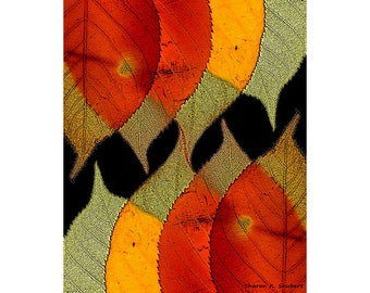 Autumn Leaves Art, Woodland Trees, Wilderness, Fall Wall Hanging, Orange Yellow Green, Colorful Leaf, Cabin Home Decor, Giclee Print, 8 x 10