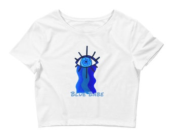 Women's Crop Tee, White Crop Top, Blue Babe Crop Top, Blue Design