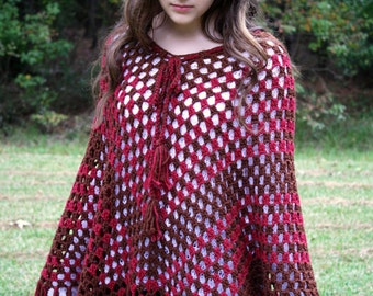 Vintage 70s Knitted Brown and Maroon Poncho