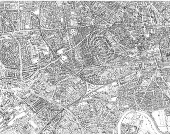 Birds-eye map of Nottingham from the city centre out to the university. Hand drawn in pencil, giclee print.