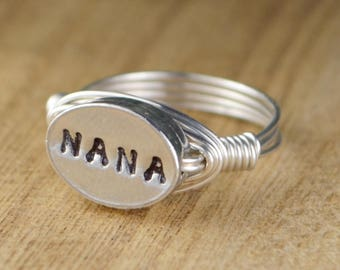 Nana Wrapped Ring-Sterling Silver, Yellow or Rose Gold Filled Wire with Hand Stamped Grandmother Word Bead- Size 4 5 6 7 8 9 10 11 12 13 14