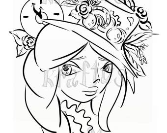 Steampunk girl. Digital stamp
