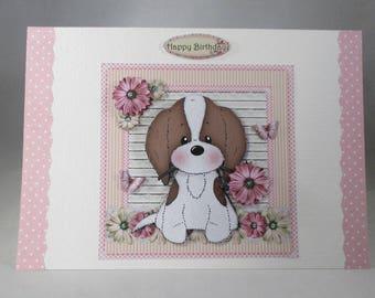 Handmade Cute Puppy Birthday Card,decoupage,3d,personalise