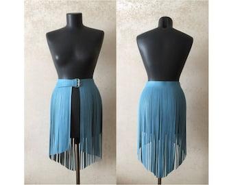 Leather fringe skirt belt baby blue sky dress diafonal style fashion