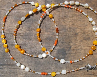 VERANO custom made w.b, glass beads, creamy/orange natural stones, ivory white/orange seed beads, crystals, read item details and leave size
