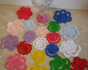 100 to 400 Assorted Random Mix Felt 3D Flower Die Cut Felt Small and Large-Free Shipping-Bobby Pins-Headbands-Hair Clips.