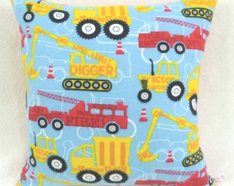 Fire Engines, Diggers, Tractors, and Dump Trucks Pillow!