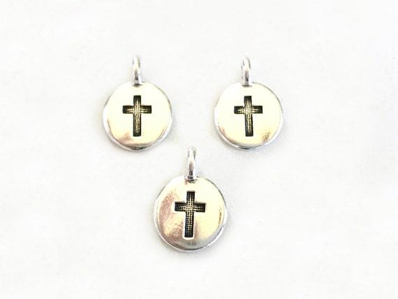 Tiny Cross Charm, TierraCast Cross Charm, Add A Charm To Your Bracelet Or Mala Bead Necklace