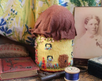Hand Embroidered Vintage Cottage Garden Floral Thatched Cottage Pin Cushion