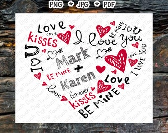Valentines card,Personalized Valentines gift,will you be my valentine? Valentines digital card,kiss,I love you,digital download CP-KSS-001