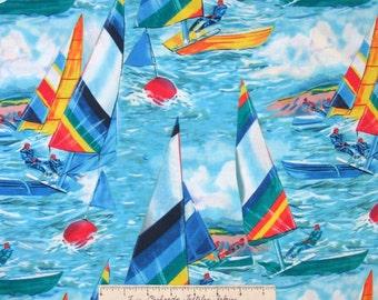 Nautical Fabric - Bright Sailboats on Ocean Blue - Shamash & Sons OOP YARD