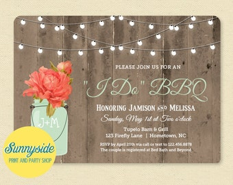 Rustic Mason Jar I DO BBQ Invitation, Couples Shower Invite, Wedding Barn Wood & Lights, Coral Peony Mint Jar