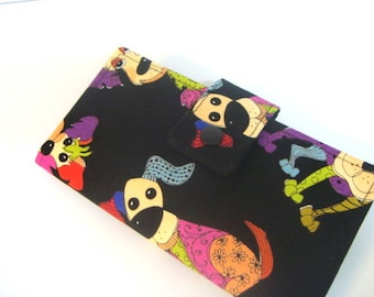 Fabric Checkbook Cover, Holder Cash Holder Coupon holder -Colorful Dogs