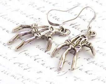 Statement Jewelry Ideas Fun Halloween Costume Accessory Gothic Creepy Scary Earrings Skeleton Hand Bones Monster Sterling Silver Dangle