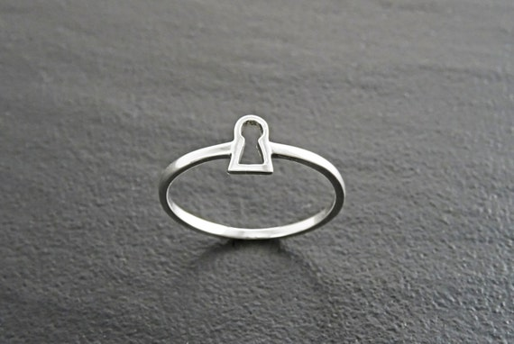 Silver Keyhole Ring, Lock Ring, Sterling Silver Ring, Girls Purity Ring, Promise Band Ring, True Love Waits Ring, Best Friends Secret Ring