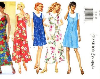 Butterick Dress Pattern 4531 - Misses' Sleeveless Fitted A-Line Jumper Dress and Top -  Sz 12/14/16 - Easy to Make