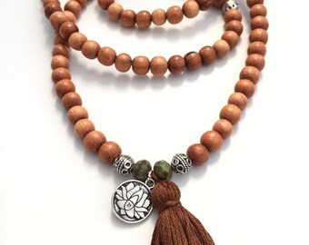 wood mala prayer  necklace wrap bracelet with FALL/WINTER color customizable tassel and charm 108 beads , yoga bracelet, yoga necklace,