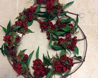 Reduced Holiday Red Holly Berry Garland / Holiday Wreath 74 Inches