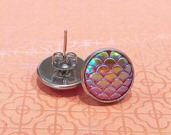 mermaid earrings studs, mermaid scale earrings, stainless steel stud earrings, iridescent earrings, shiny stud earrings, young girl jewelry