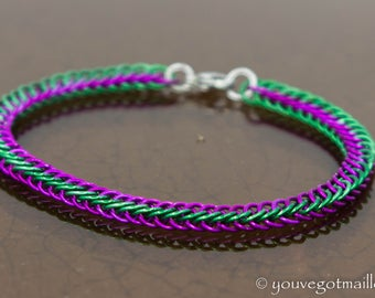 Delicate Violet and Green Chainmaille Bracelet