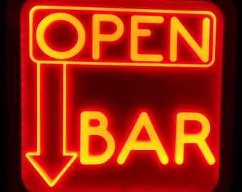 Open Bar Acrylic LED RGB  Sign Wall Sign Neon Like Sign Color Changing Remote Control 15 x 15 inches Made In USA Free Shipping