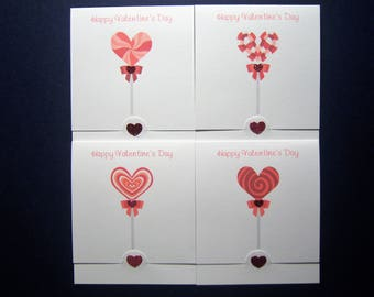 Set of 12 Mini 3 x 3 1/4 Lollipop Valentine Cards