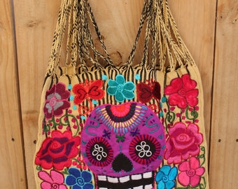 Sugar Skull Handwoven Tote Handbag-Day of the dead-Floral-Mothers day Gift-Telar-Cotton-Boho-Folk Art-Telar de Cintura-Woven by Hand- Ethnic