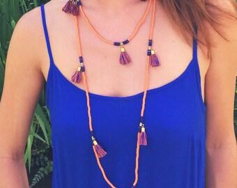 Team Spirit Tassel Necklace Orange & Blue
