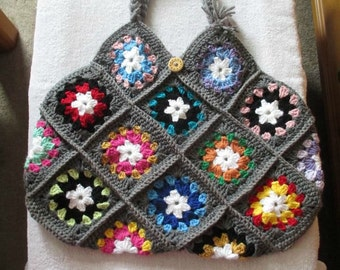 Crocheted Granny Square Purse-Handbag-Tote bag